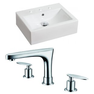 Savings Above Counter Ceramic Rectangular Vessel Bathroom Sink with Faucet and Overflow ByRoyal Purple Bath Kitchen