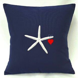 Valentine's Starfish and Heart Throw Pillow