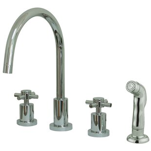Elements of Design South Beach Double Cross Handle Widespread Kitchen Faucet with Non-Metallic Sprayer