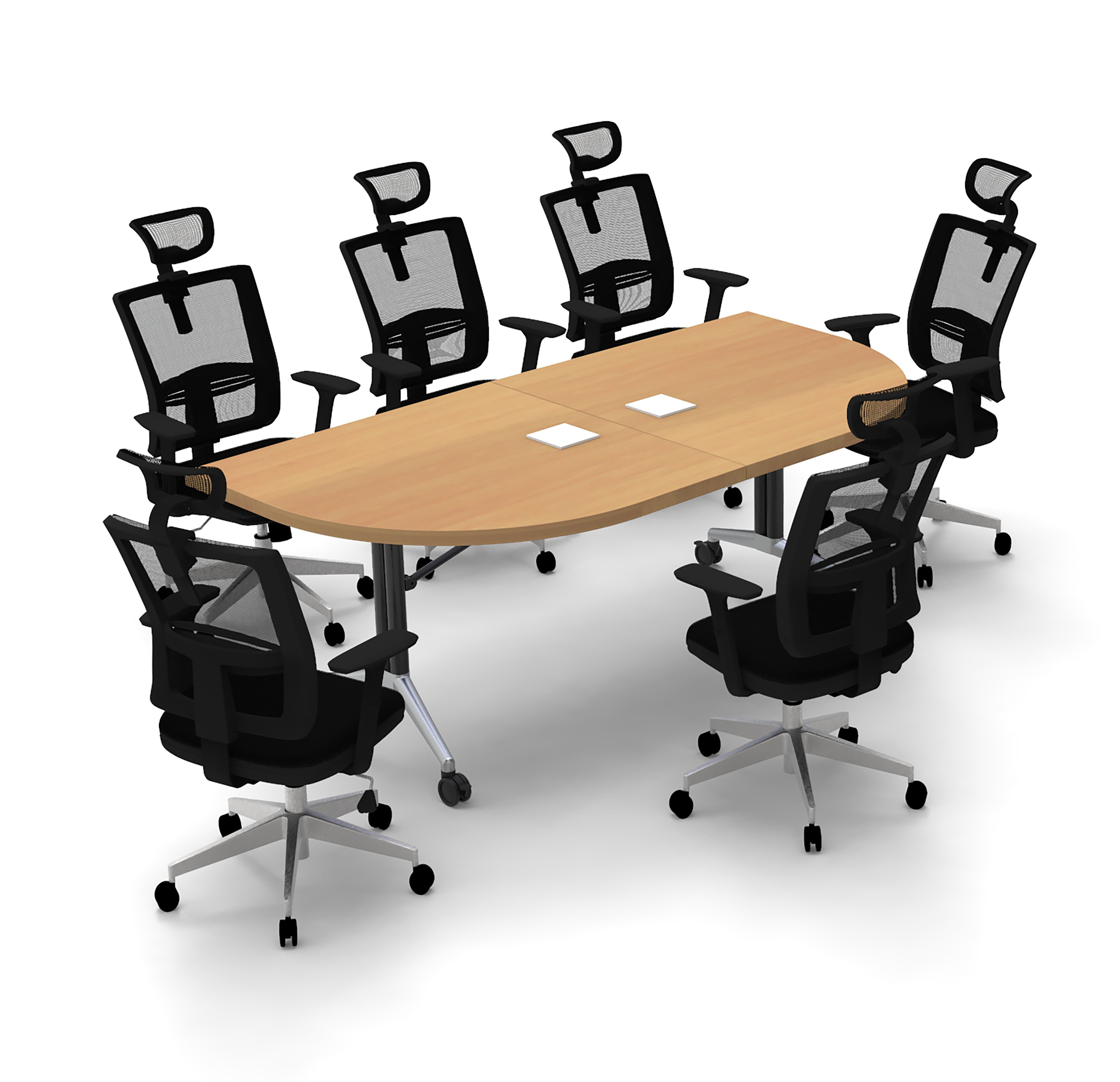 Inbox Zero Altheia Half Round Conference Meeting Table And Chair Set Wayfair