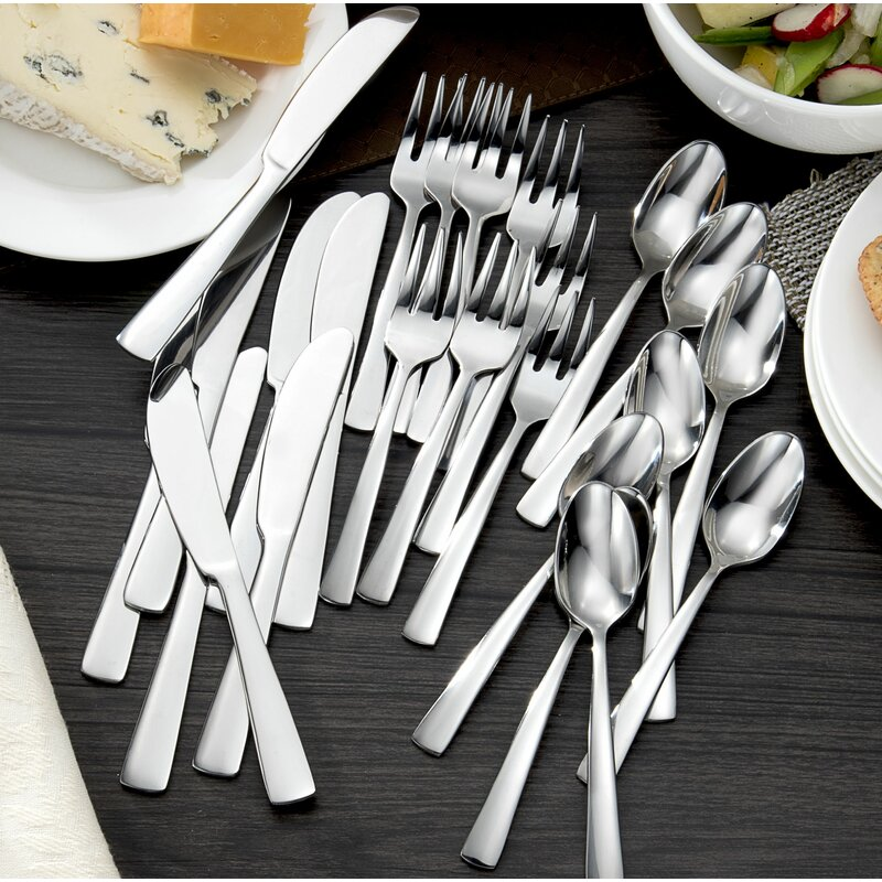 Chefu0027s Table 24 Piece Stainless Steel Cocktail Flatware Set