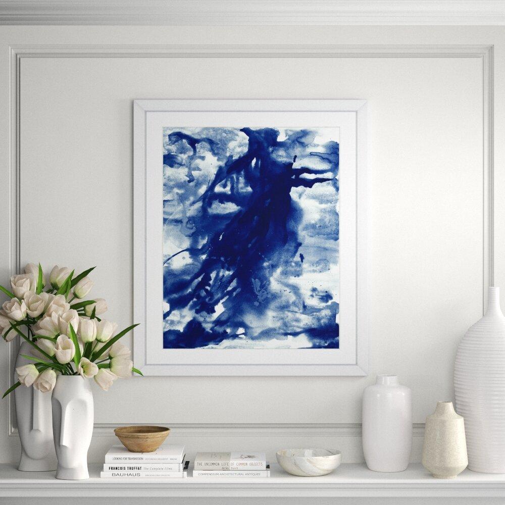 Bronx Blue Bedroom Project: Ivy Bronx 'Blue Ink Drama I' Framed Print
