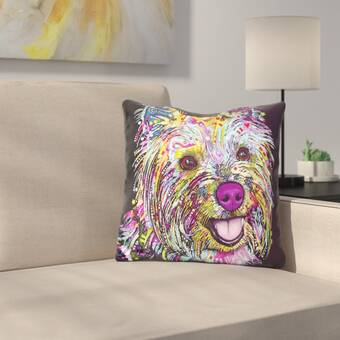 LiLiPi Yorkie Graphic Style Decorative Accent Throw Pillow