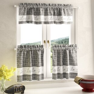 Mike Country Kitchen Plaid Check 3 Piece Curtain Set
