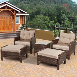 Canyon 4 Piece Rattan Sofa Seating Group with Cushions