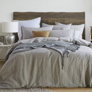 Gracie Oaks Cregganboy Natural Linen 3 Piece Reversible Duvet Set