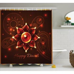Brooks Diwali Paisley Design Backdrop With Beams and Diwali Wishes Candles Indian Print Single Shower Curtain