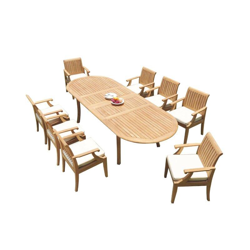 Rosecliff Heights Eveloe 9 Piece Teak Dining Set | Wayfair