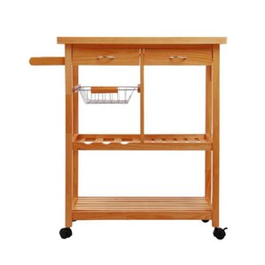 Kitchen Cart with Wood Top by HomCom