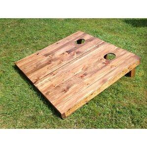 stained wood slat cornhole board set of 2