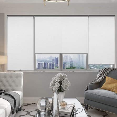 Cordless & Blackout Roller Shade, Room Darkening Rolled Up Shade, Fabric Window Blind, For Light Blocking /Sun Protection, 23 Inches Wide