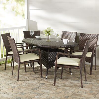 Brandon 7 Piece Dining Set With Cushions by Beachcrest Home Comparison