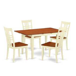 Balfor 5 Piece Extendable Solid Wood Dining Set