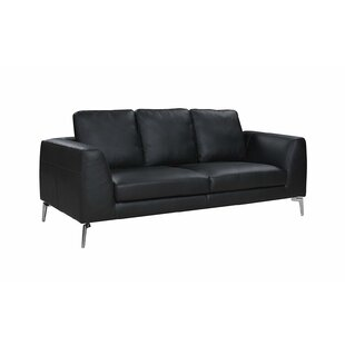 Wrayon Mid-Century Modern Plush Top Grain Leather Sofa by Orren Ellis