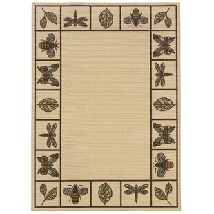 Ceasar Ivory/Brown Indoor/Outdoor Area Rug
