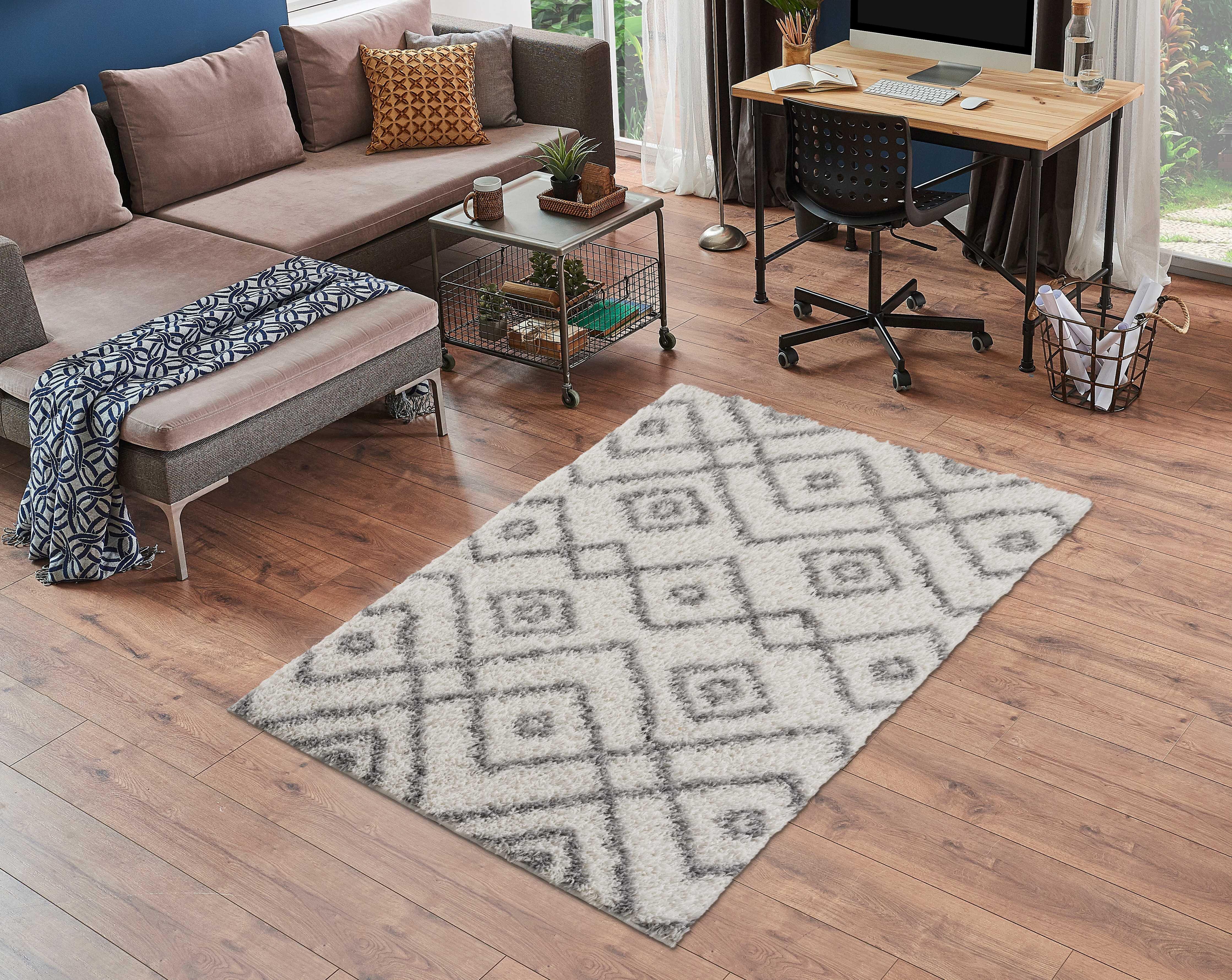 Foundry Select Huggard Geometric White Gray Area Rug Wayfair