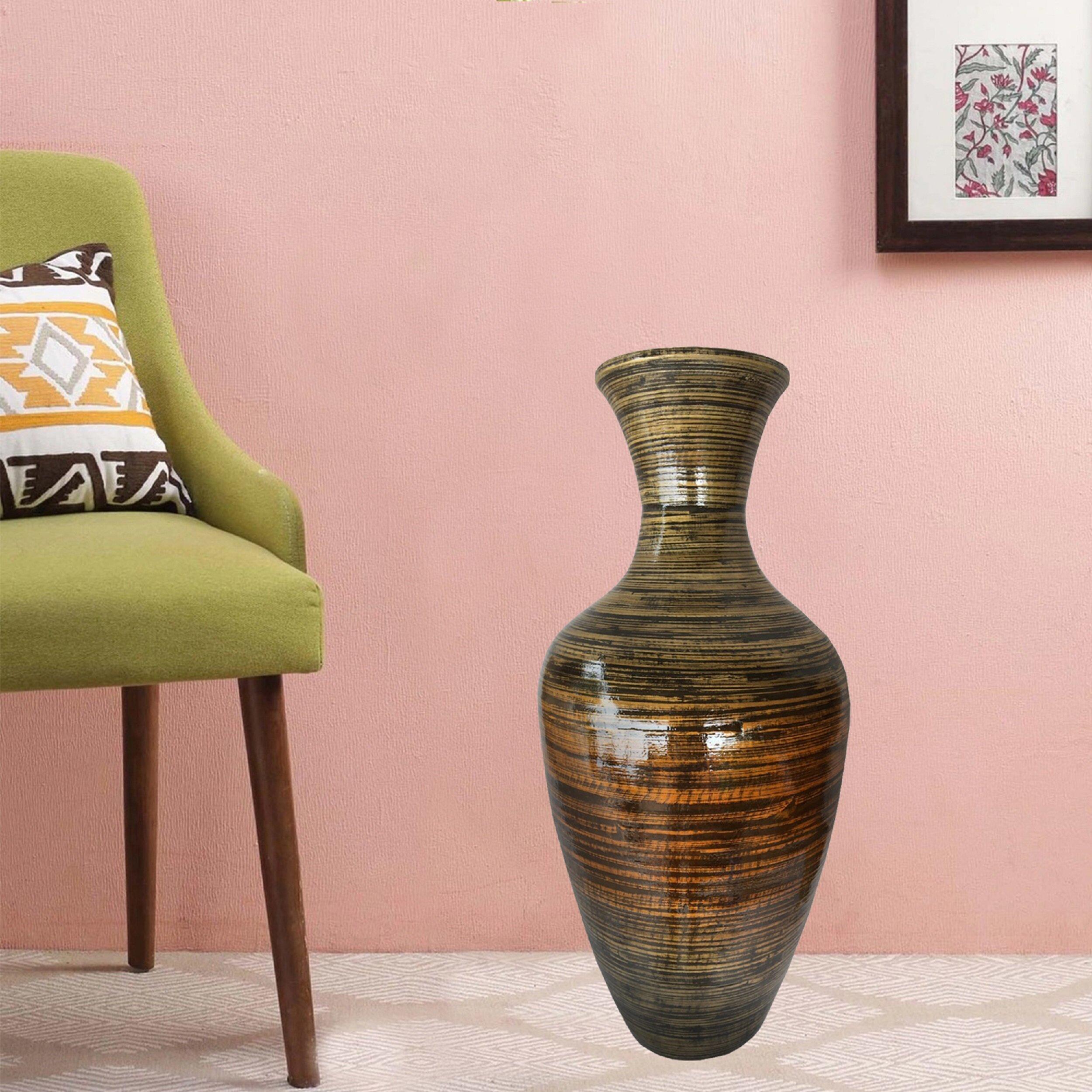 World Menagerie Roby Bamboo Floor Vase Reviews Wayfair