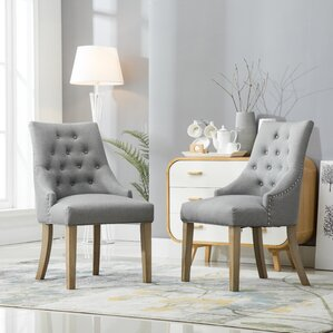 pena button tufted wingback hostess upholstered dining chair set of 2