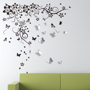 New Huge Butterfly Vine And 3D Mirror Butterflies Wall Decal Part 64