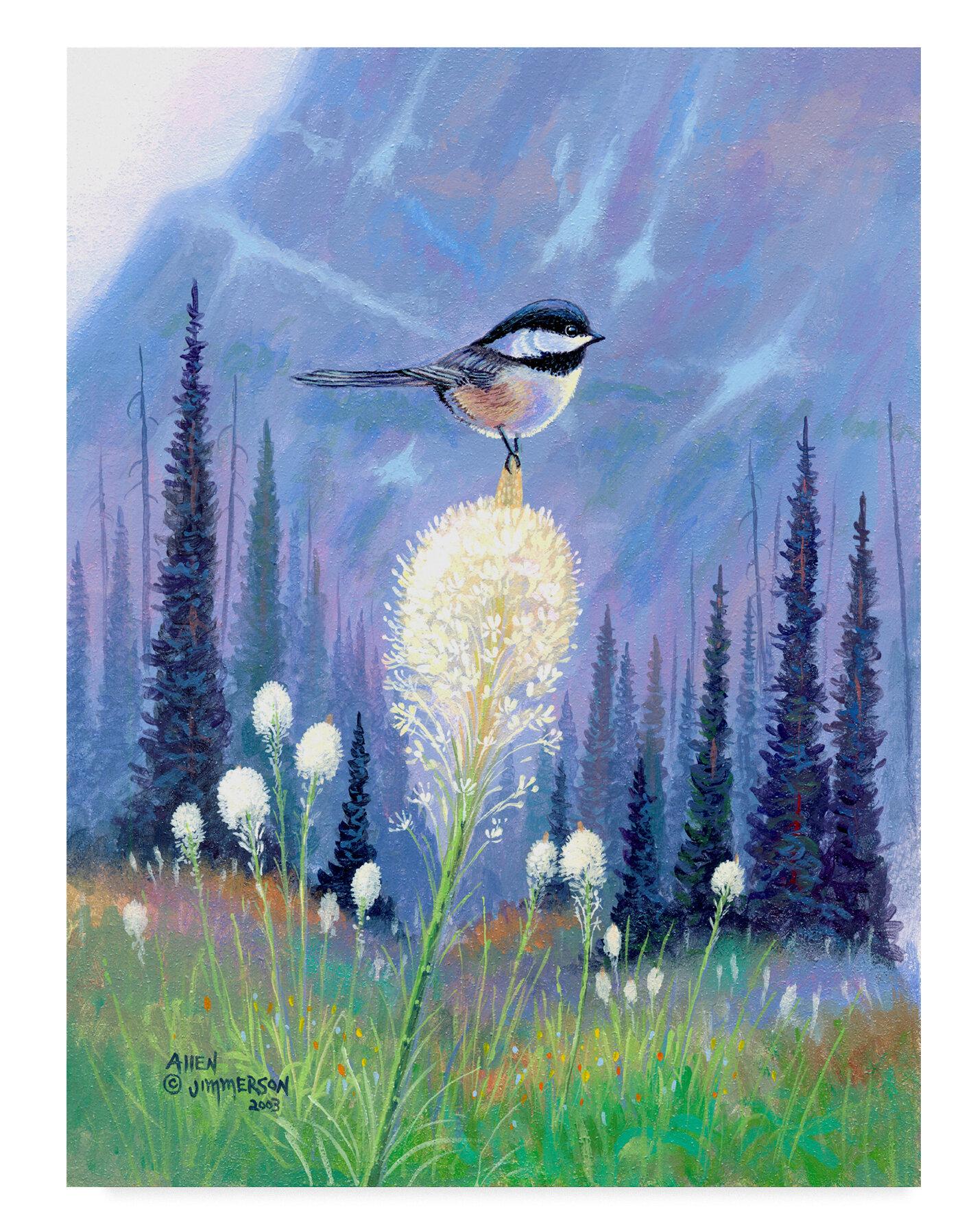 Trademark Art Chickadee On Flower Oil Painting Print On Wrapped Canvas Wayfair