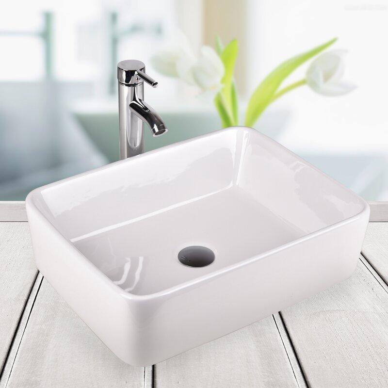 Elecwish Above Counter Ceramic Rectangular Vessel Bathroom Sink
