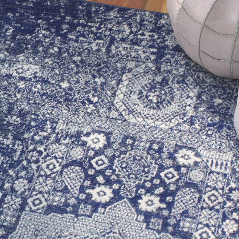 Mistana Riggs Distressed Dark Blue Area Rug Amp Reviews