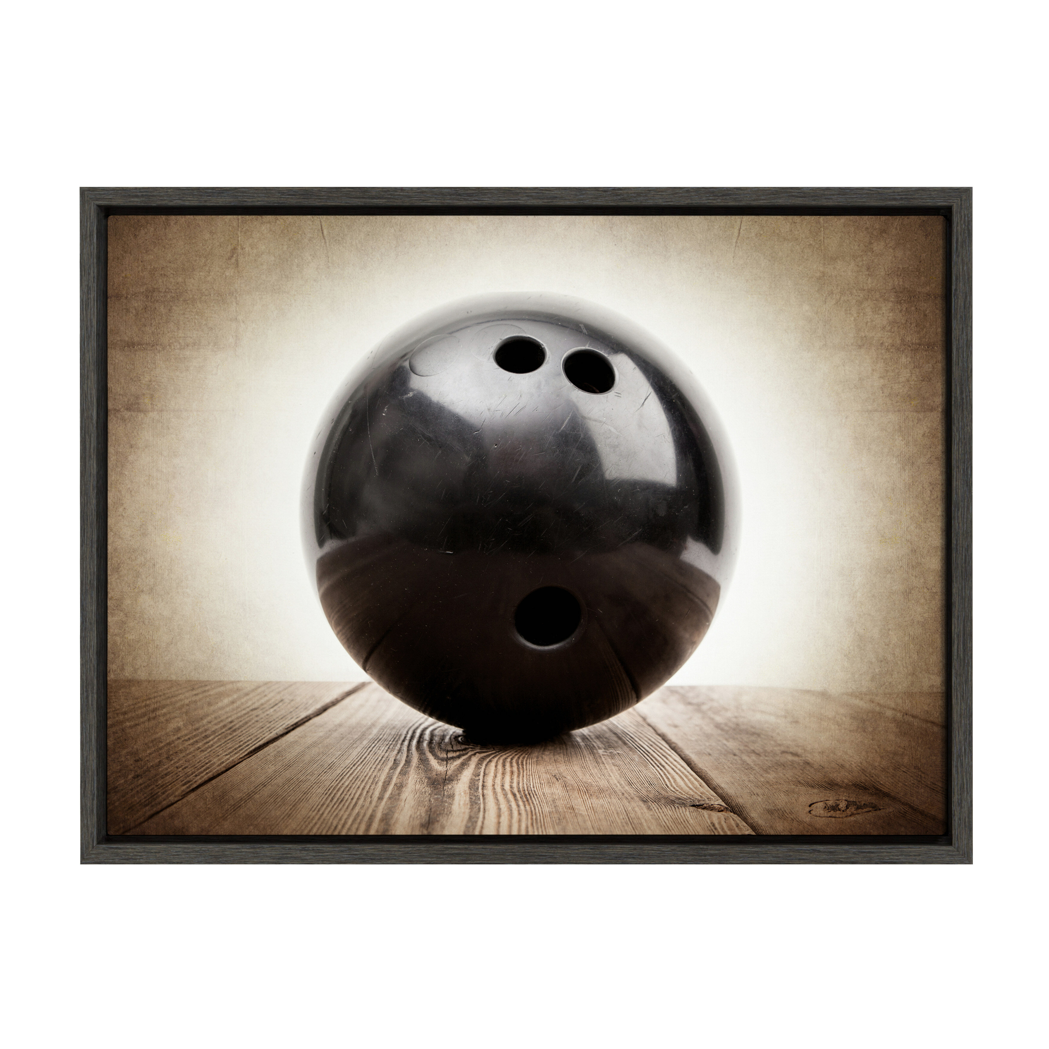 Harriet Bee Vintage Bowling Ball By Shawn St Peter Floater Frame Graphic Art Print On Canvas Wayfair