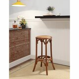Banbury Wooden 24 Bar Stool with Weave Top and Flared Legs by Bayou Breeze