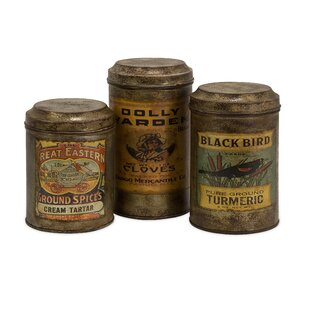 Vintage Label 3 Piece Kitchen Canister Set