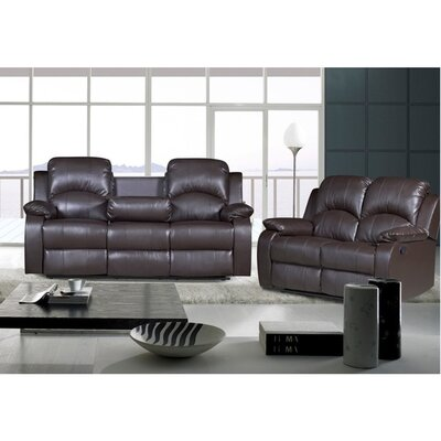 Willian Reclining 2 Piece Leather Living Room Set