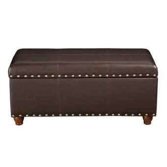 Loon Peak Mcconkey Genuine Leather Flip Top Storage Bench Wayfair