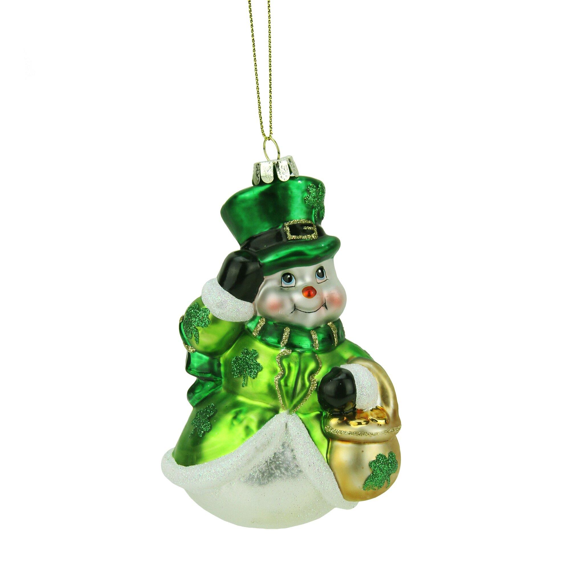 Northlight Luck of the Irish Glittered Snowman Glass Christmas ...