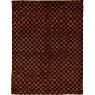 Affordable Price One-of-a-Kind Nash Hand-Knotted  4'11 x 6'6 Wool Red/Black Area Rug By Isabelline
