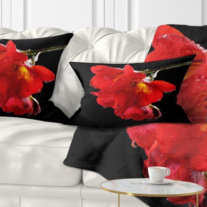 East Urban Home Floral Freesia Flower On Background Lumbar Pillow Wayfair