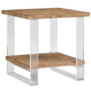 Leamon Reclaimed Wood and Acrylic End Table