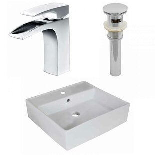 Top Reviews Ceramic Square Vessel Bathroom Sink with Faucet By American Imaginations
