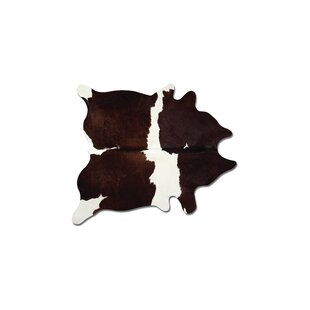 Affordable Abhinav Hand-Woven Leather Chocolate/White Cowhide Area Rug By17 Stories