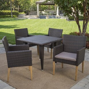 Jaliyah Outdoor 5 Piece Dining Set with C..