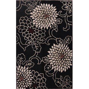 Find for Kieran Oushak Agra Oriental Hand-Knotted Wool Black/White Area Rug By Alcott Hill