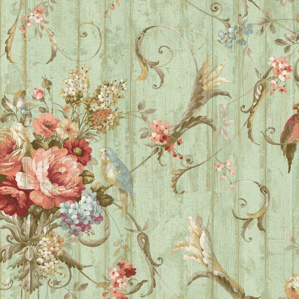 York Wallcoverings Book Parrots With Floral Bouquet 27 X