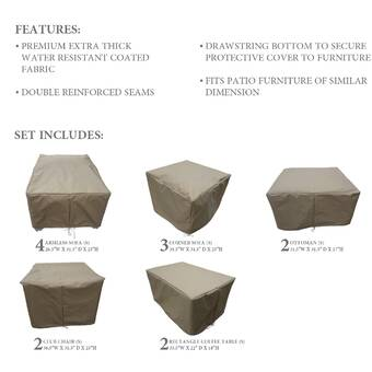 Sol 72 Outdoor Fairfield 8 Piece Water Resistant Patio Furniture Cover Set Reviews Wayfair