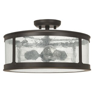 Gracie Oaks Calvin 3-Light Old Bronze Semi-Flush Mount