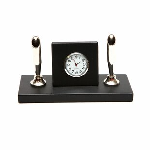 Darby Home Co Chinnock Leather Desk Double Pen Stand Supplies Organizer