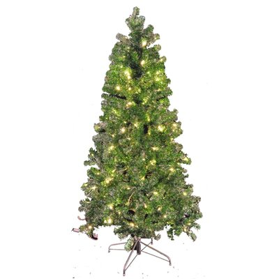 Queens of Christmas 6' Green and Silver Tinsel Tree
