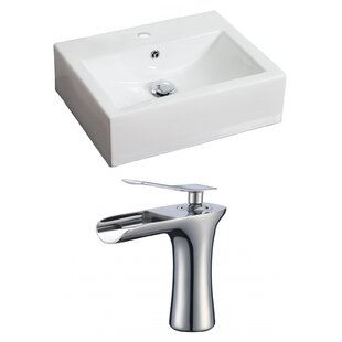 Great Price Ceramic Rectangular Vessel Bathroom Sink with Faucet and Overflow ByAmerican Imaginations