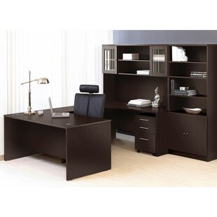 Haaken Furniture Pro X Executive 6 Piece U-Shape Desk Office Suite