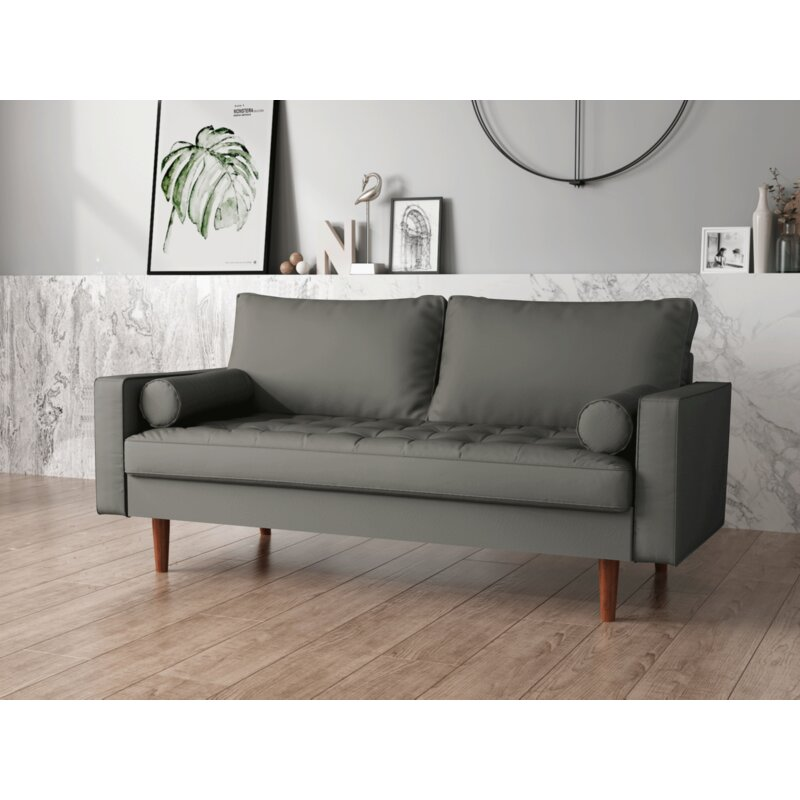 George Oliver Susan 69 68 Wide Faux Leather Square Arm Sofa Wayfair