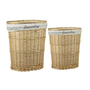 2-Piece Wicker Laundry Hamper Set By HDS TRADING CORP