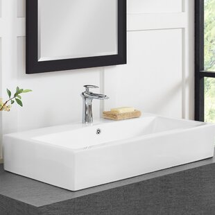 Best Voltaire Ceramic Rectangular Vessel Bathroom Sink with Overflow By Swiss Madison