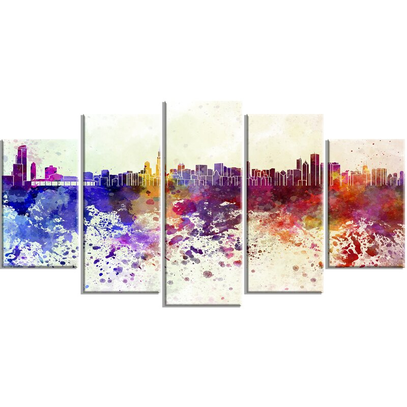 Ebern Designs Chicago Skyline 5 Piece Graphic Art On Wrapped Canvas Set Reviews Wayfair
